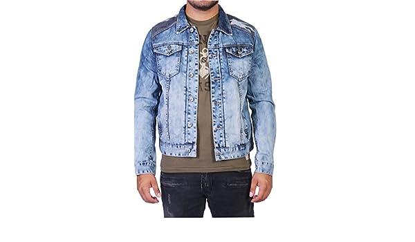 dosmil Hombre Jeans Chaqueta con camuflaje azul L : Amazon ...