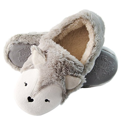 Fox Fleece Bootie Slippers | Wool Plush Indoor/Outdoor Slippers | Furry Winter Boot Home Slippers | Womens Anti-Slip Bootie (6.5-7,...