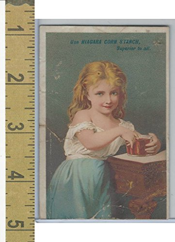 Victorian Card, 1890's, Niagara Starch, Girl Blue Skirt Finger in -