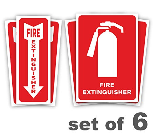 Steel Exit Sign - Fire Extinguisher Signs Stickers - 6 Pack Premium Self-Adhesive Vinyl Decal Fire Extinguisher Signs - UV Protected & Waterproof Stickers - Indoor & Outdoor Use