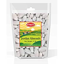 SUNBEST WHITE Jordan Almonds, JUMBO in BOX and Resealable Bag (White, 2 Lb)