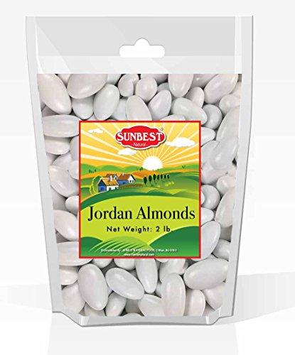 SUNBEST WHITE Jordan Almonds, JUMBO in BOX and Resealable Bag (White, 2 Lb)]()