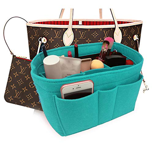 Felt Insert Fabric Purse Organizer Bag, Bag Insert In Bag with Zipper Inner Pocket Fits Neverfull Speedy 8010 Lake Blue ()