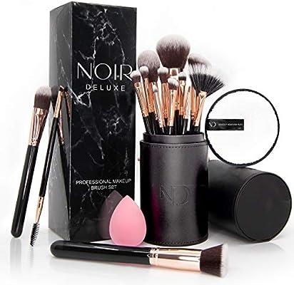 Noir Deluxe - Juego de 14 brochas de maquillaje profesional con toallita desmaquillante reutilizable, esponja de maquillaje y estuche (oro rosa): Amazon.es: Belleza