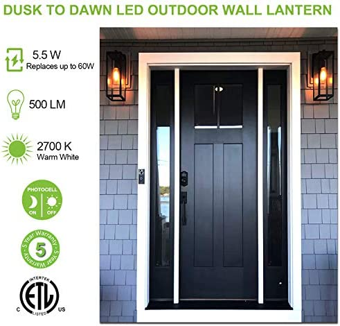 Outdoor Wall Lantern with Dusk to Dawn Photocell, LED Bulb Included, Matte Black Wall Light Fixtures, Architectural Wall Sconce with Clear Glass Shade for Entryway,Porch,Doorway,ETL-2 Pack