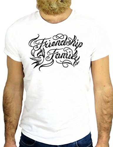 T SHIRT JODE z2683 FRIENDSHIP FRIEND TATOO COOL USA AMERIC UNITED STATES GGG24 BIANCA - WHITE M