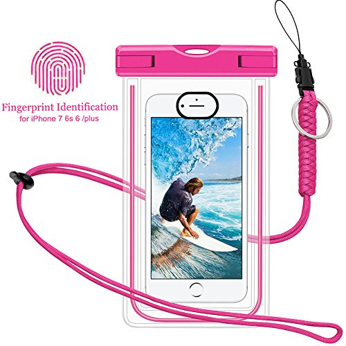 Waterproof Phone Case, Universal Dry Pouch Outdoor Cell Phone Floating Bag with Straps for iphone 7 6s 6 Plus, Samsung Galaxy S8 S7 S6 Edge Note 5 4 3 HTC One M8, M7, LG, G5, Huawei, Sony, etc (Pink)