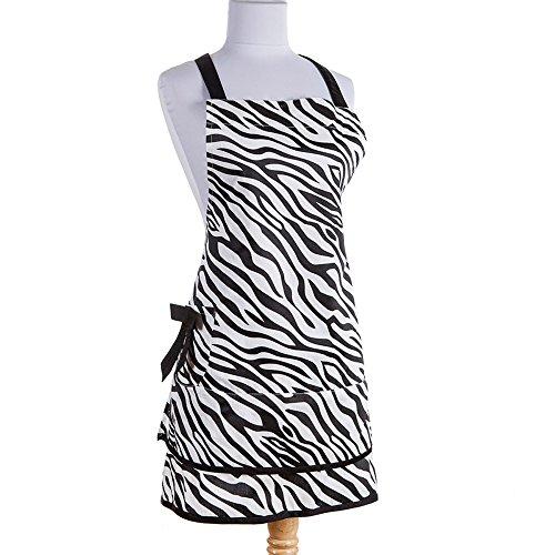 Black and White Girly Vintage Style Zebra Print Apron