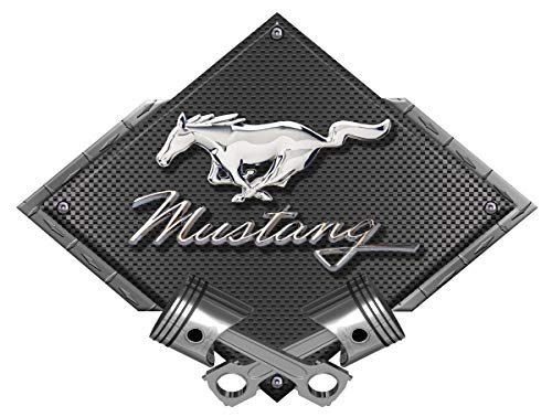 ZIC Motorsports Ford Mustang Running Pony Black Diamond with Crossed Pistons Heavy Duty Metal Garage Wall Sign - 25
