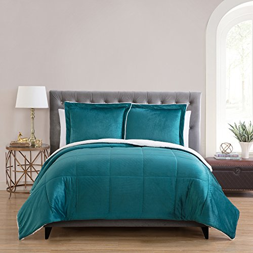 (VCNY Home Micro Mink Reversible Sherpa 3 Piece Bedding Comforter Set, King, Teal)