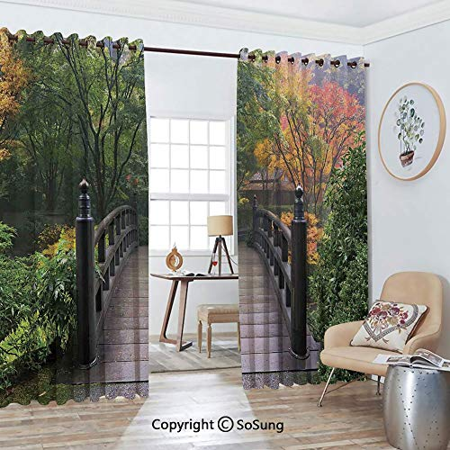 Thermal Insulated Blackout Patio Door Drapery,Wooden Bridge at Portland Japanese Garden Oregon in Foggy Autumnal Morning Park Room Divider Curtains,2 Panel Set,100