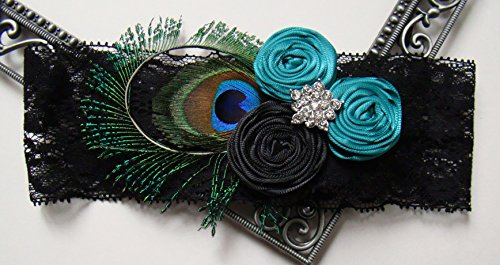 Peacock Rosette Teal Black Satin Rhinestone Glam Black Stretch Lace Bridal Vintage Wedding Keepsake Or Garter Set