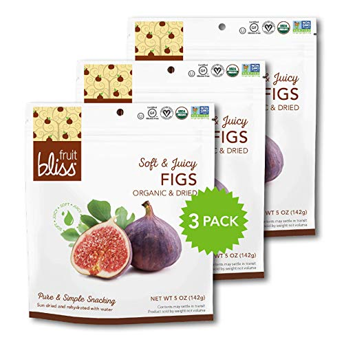 (Organic Turkish Figs Dried Fruit Snacks, Sweet, Soft & Juicy Sun-Dried Figs - Healthy Snacks for On the Go - Organic Figs Treats are Non-GMO, Gluten-Free, Vegan Fig Snacks (3 Pack - 5 oz. each))