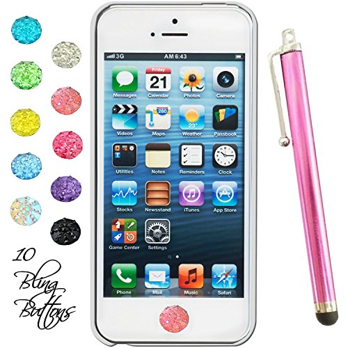 Home Button Rhinestone Stickers Set of 10 Colors with Rose Pink Stylus Pen Fits Apple Ipad air,mini, Apple Iphone3gs 4g 4g 5s 6, Apple Ipod 2g 3g 4g 5g 6