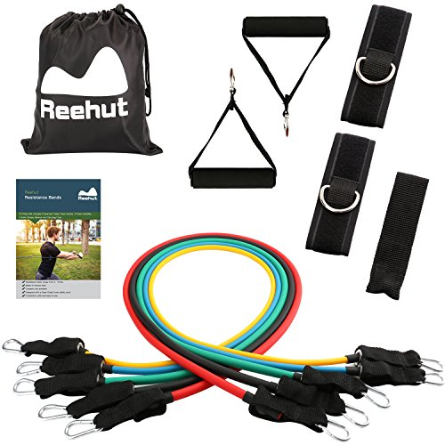 Reehut Resistance Bands - 12-Piece Set Includes 5 Exercise Tubes, Door Anchor, 2 Foam Handles, 2 Ankle Straps, Manual and Carrying Case