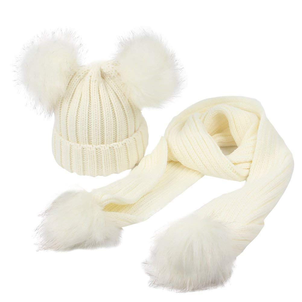 Baby Girls Knit Beanie Hat Scarf Set for Toddler Boys Kids Warm Double Pom Pom Skull Cap