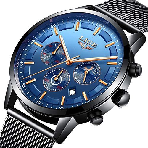 (Mens Watches Fashion Steel Quartz Analog Watch Luxury Brand LIGE Wristwatch Sport Waterproof Chronograph Watch Dress Business Date Clock Causal Blue ...)