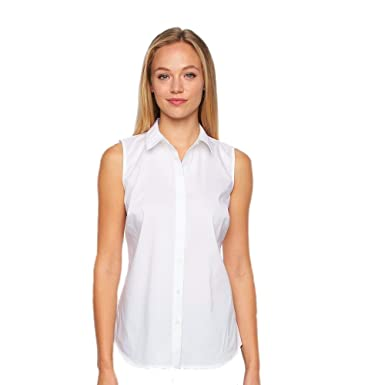 Apt Women S Sleeveless Structured Shirt X Large White At