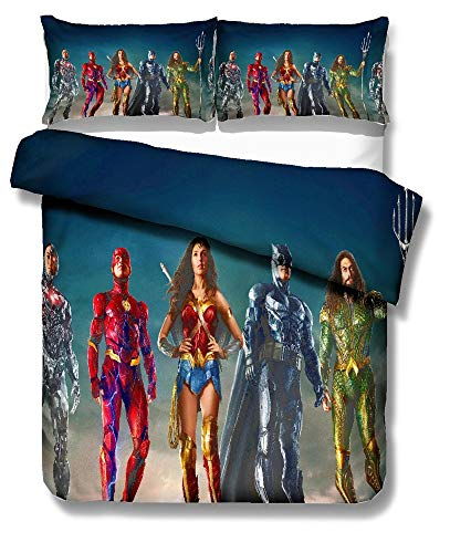 Bedding, 3 Piece Set Duvet Cover+ Pillowcase,Batman Print Child/Adult Single Bed King Double Bed Non-Fading Comfortable Soft Hypoallergenic Microfiber Bedding,01,Full78.7×90in