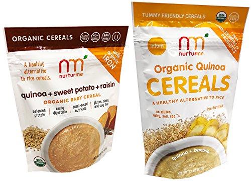 Nuturme Organic Quinoa Baby Cereals Pack of 2 (Quinoa and Banana and Quinoa Sweet Potato and Raisin) Each Bag Contains 8 (Sweet Raisins)