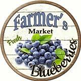 Farmers Market Blueberries Novelty Metal Circular Sign C-627