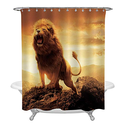 MitoVilla Angry Roaring Lion on the Peak Top Shower Curtain for Bathroom Set for Kids Boy and Men, Waterproof Machine Washable Polyester Fabric Bathtub Accessories Set with Hooks, Gold, 72 x 84 X-long