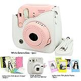 Fujifilm Instax Mini 8 Instant Camera Accessory Bundles Set (Included: White Mini 8 Vintage Case Bag/ White Rabbit Design Mini 8 Close-Up Lens(Self-Portrait Mirror)/ 3 Inch Photo Frame/ Colorful Decor Sticker Borders)
