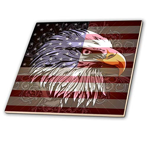3dRose ct_116181_4 Ornate Patriotic Bald Eagle & USA American Flag Pride Great for Fourth of July in Dependence Day Ceramic Tile, 12""