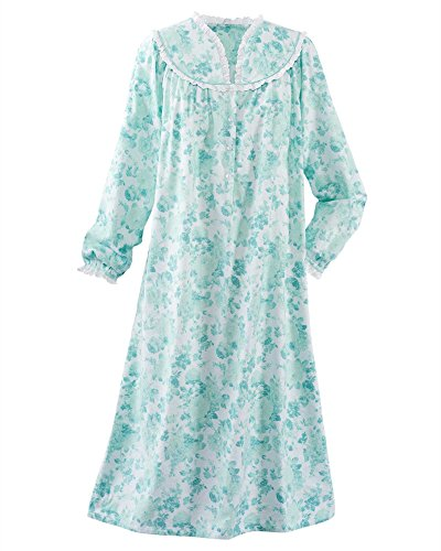 National Dainty Floral Flannel Gown, Light Teal, 3X
