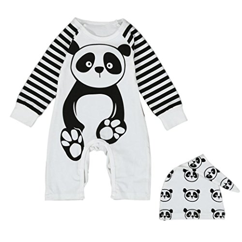 [Toraway Newborn Toddler Infant Baby Boys Girls Panda Print Jumpsuit Romper Outfits Clothes (0-6 Month,] (Panda Outfits For Babies)
