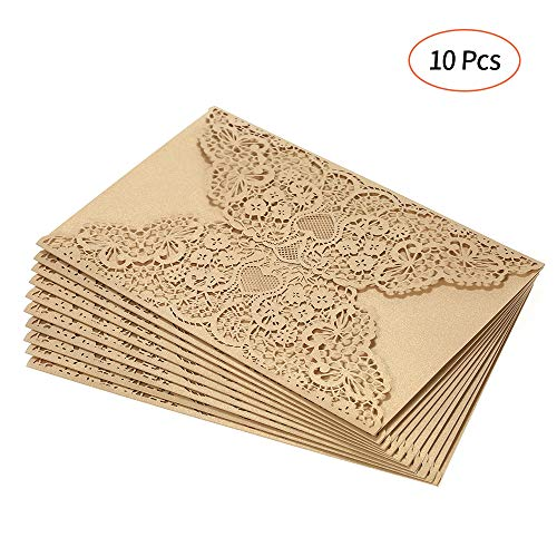 (Blusea 10pcs Pearl Paper Invitation Cards Invitation Holders for Wedding Birthday Party)