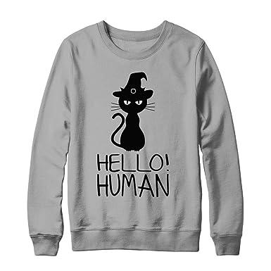 Hello Human Meh Cat Funny Halloween Costume Men Women Hanes Ultimate Heavyweight Crewneck Sweatshirt Light