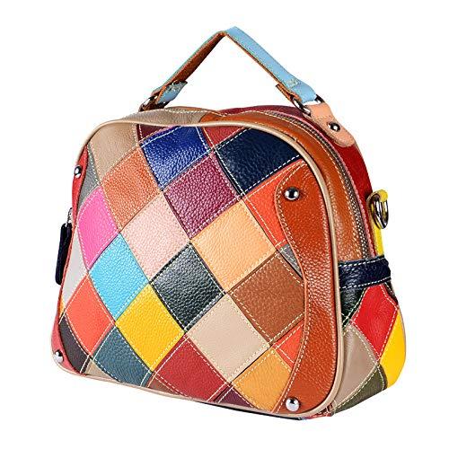 Cousu Petit Main La Cuir Multicolore Vintage Mode Carré Bandoulière Femmes Sauvage Sac À En Pour 0zxTqqS