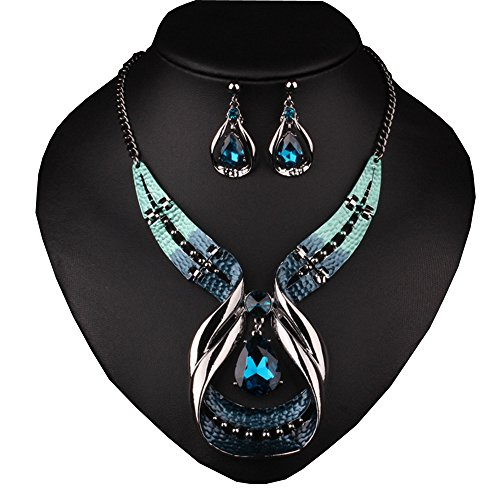 Girl-Era-Big-Drop-Sapphire-Retro-Elegant-Style-Necklace-Earring-Sets-Wedding-Party