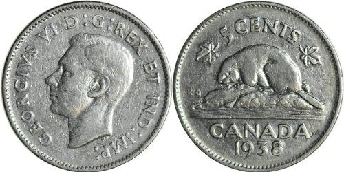 1938 Canadian Nickel -- Very Fine+ ()