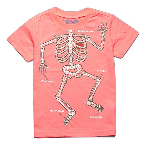 Peek-A-Zoo Infant Baby Become an Animal Short Sleeve T Shirt - Skeleton Neon Coral (12/18 Months)