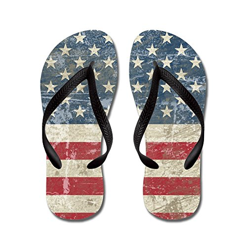 CafePress - Vintage USA Flag - Flip Flops, Funny Thong Sandals, Beach Sandals Black