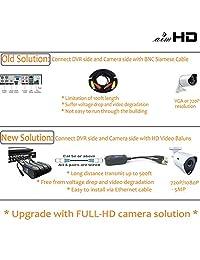 aimhd 4 pair pasivo Power Balun Transceptor Upgraded 1080P 3 MP 4 MP Red de vídeo con conector RJ45 Cat5 CAT6 cable a BNC Male Adaptador para Full HD Cámara de vigilancia de seguridad sistema- 8 unidades