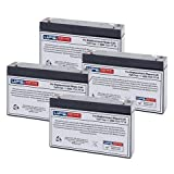 Set of 4 - 6V 7Ah Replacement Battery Set with F1 Terminals for CF6V7 PE6V7.2F1 SLA0925 CA160