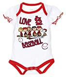 MLB St. Louis Cardinals Baby Girls Infants Peanuts Love Baseball Creeper, White