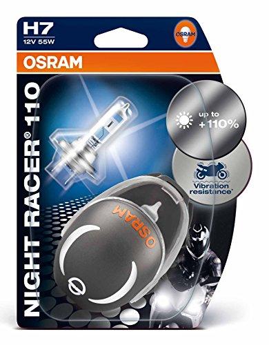 OSRAM NIGHT RACER 110 H7 Halogen, Motorrad-Scheinwerferlampe, 64210NR1-02B, Doppelblister (2 Stück mit Miniatur Motorradhelm)