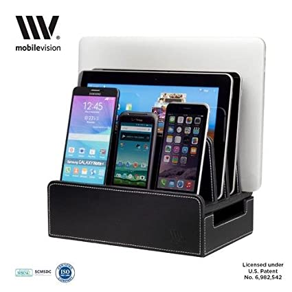MobileVision Charging Station Slim Black Faux Leather Executive Stand And  Docking Organizer For Multiple Devices,