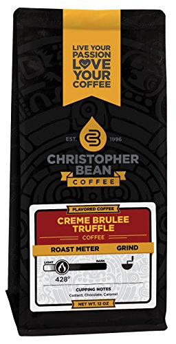 Christopher Bean Coffee Decaffeinated Whole Bean Flavored Coffee, Creme Brulee Truffle, 12 Ounce