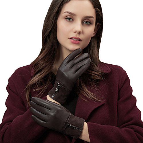 GSG Womens Novelty Zipper Touchscreen Gloves Italian Nappa Leather + Fashion Suede Winter Warm Driving Gloves Texting Nice Gifts Brown 8 - Brown Italian Glove
