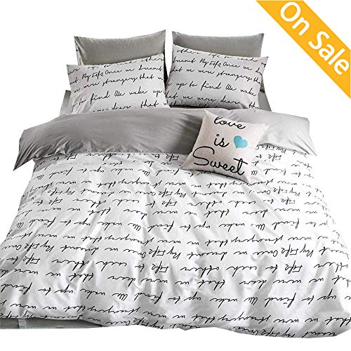 【LATEST ARRIVAL】Love Letters Stripes Duvet Cover Set Cotton Queen Full White Gray Bedding Collections 3 Pieces Hotel Quality Comforter Cover for Kids Boys Girls Adults Teens with Zippers,NO ()