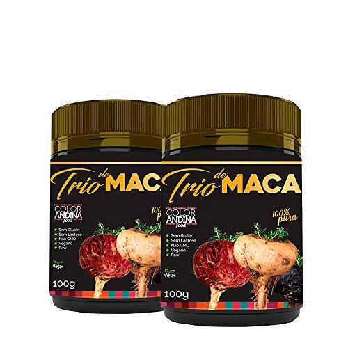 Trio de Maca Peruana (Preta, Vermelha e Amarela) Color Andina Food, 2 potes de 100g