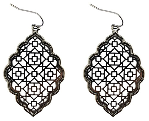 (StylesILove Womens Trendy Two-Tone Cut Off Filigree Quatrefoil Long Chain Pendant Necklace Dangle Earring (Metal Black - Earrings))