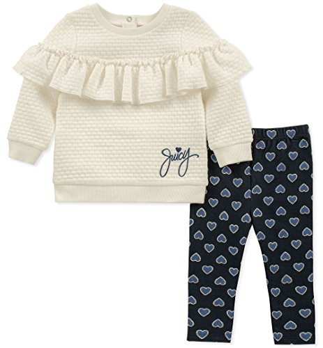 Juicy Couture Baby Girls 2 Pieces Tunic Legging Set, Silent Vanilla/Denim, 6-9 Months