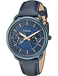 Women's Quartz Stainless Steel and Leather Casual Watch, Color:Blue (Model: ES4092)