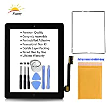 iPad 3 Black Screen Replacement Touch Screen Digitizer Glass Assembly Includes Home Button Camera Holder Pre Installed Adhesive Stickers Bezel Frame and Professional Tool Kit